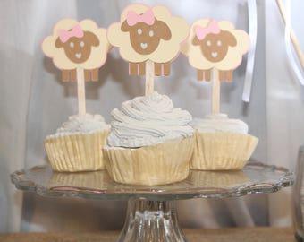 Lamb cupcake topper - sheep cupcake topper - lamb party - lamb baby shower - lamb baptism - sheep baby shower - little lamb baptism