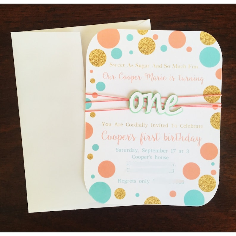 First Birthday Invitation Invite Pink And Gold