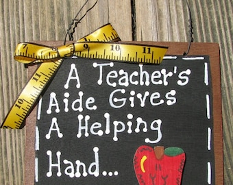 Teacher Gifts 38 Teacher Aide Helping Hand Wooden Slate