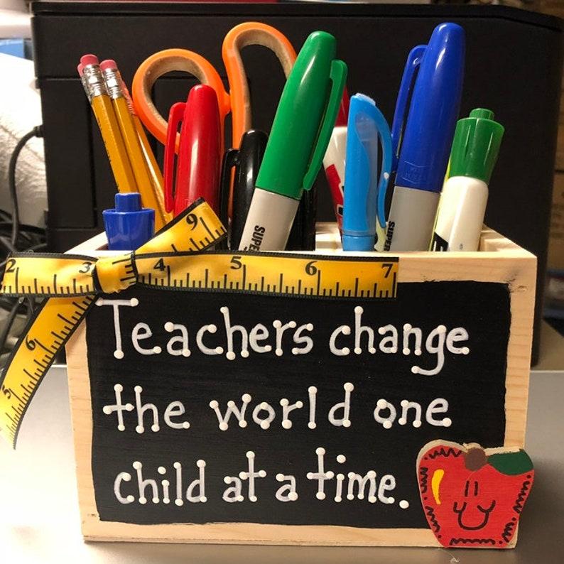 Teacher Gifts  2708D Teacher Change Supply Wood Box image 1