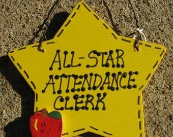 Attendance Clerk Teacher Gifts Yellow Star w/Apple All Star Attendance Clerk