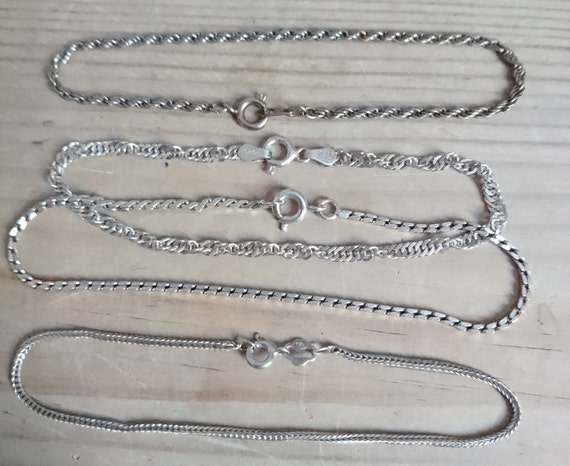 Vintage Italy Beaded Four Rows Design Chain Bracelet Sterling Silver Br 1948 123759773651