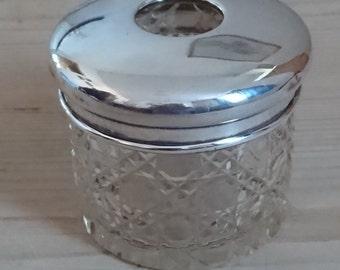 Vintage sterling silver lidded hair tidy