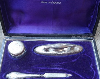 Vintage sterling silver boxed manicure set