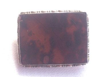 Vintage sterling silver gemstone brooch