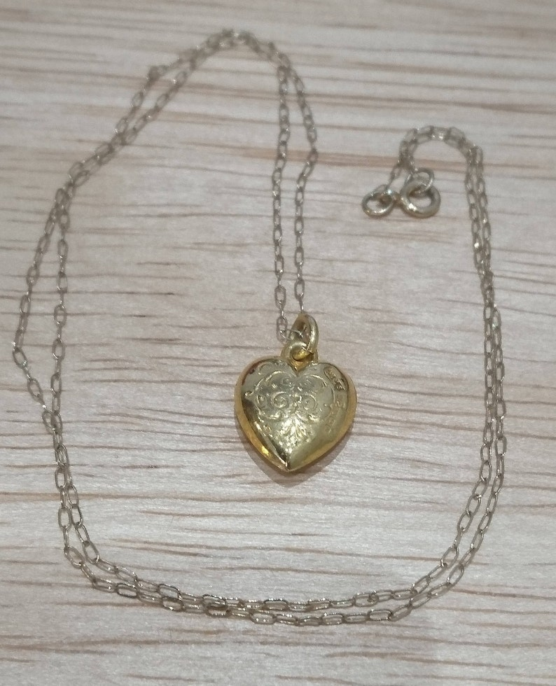 Vintage 9ct gold puffed heart pendant and chain