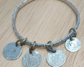 Vintage Victorian silver bangle with 4x Victorian coins