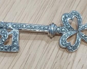 Vintage 21st birthday marcasite key brooch