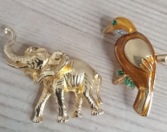 Vintage elephant and bird brooch