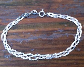 vintage sterling silver three strand bracelet