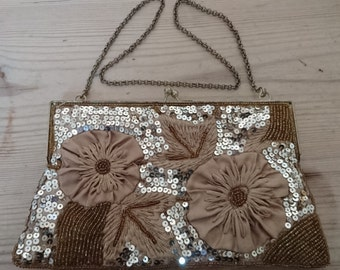 Vintage beaded sequin bag /evening purse