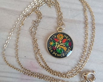 Vintage 1967 enamelled six pence coin pendant and chain