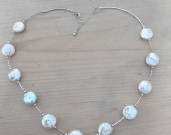 Vintage sterling silver and real Pearl necklace