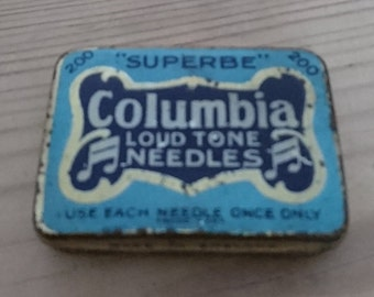 Vintage tin of gramophone needles Columbia