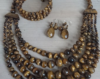 Tigerseye gemstone necklace, bracelet and earrings set
