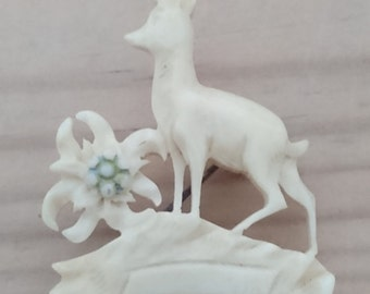 Vintage carved deer brooch