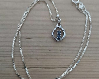 Vintage sterling silver and sapphire pendant and chain