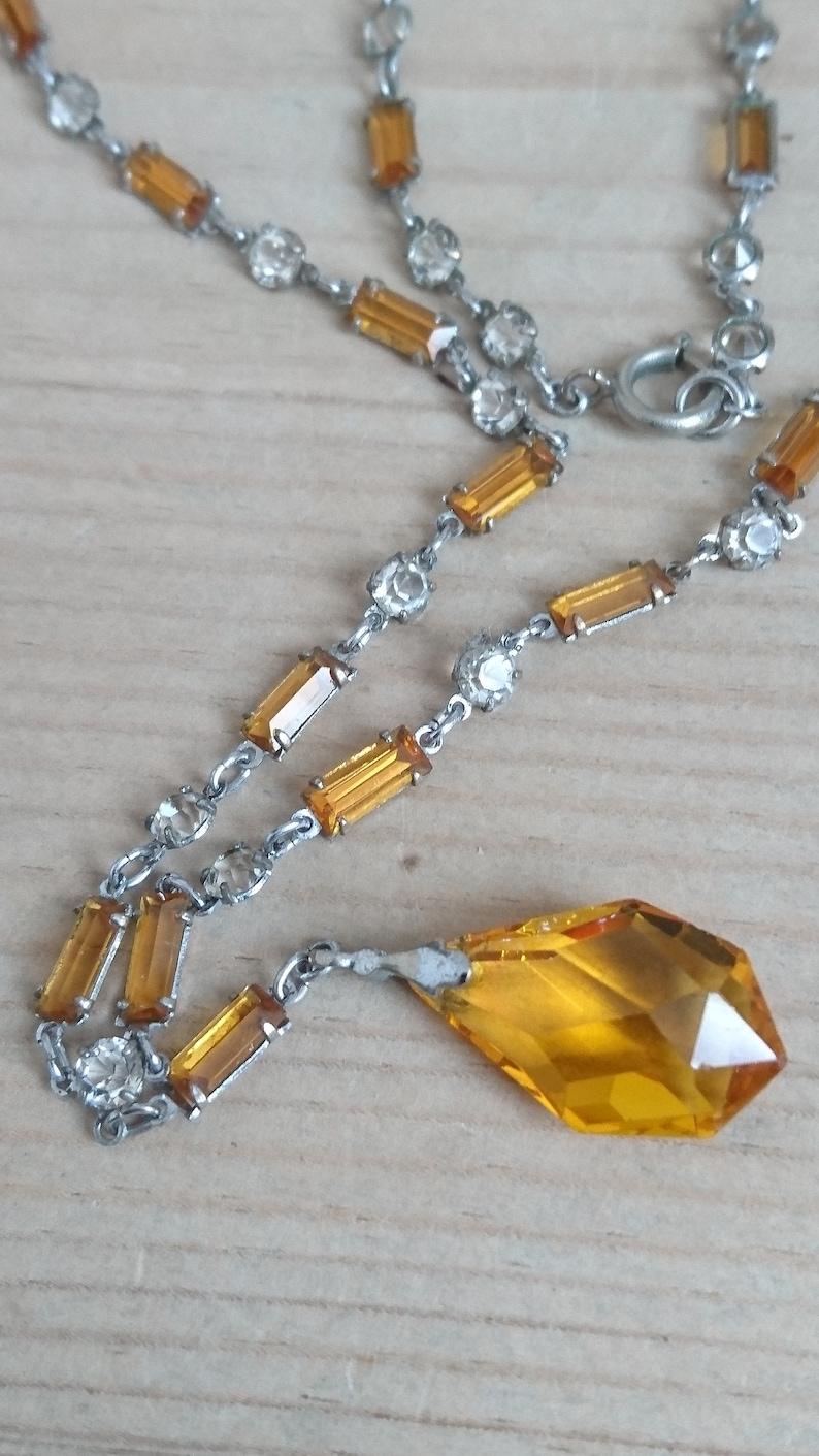 Vintage yellow rhinestone drop necklace