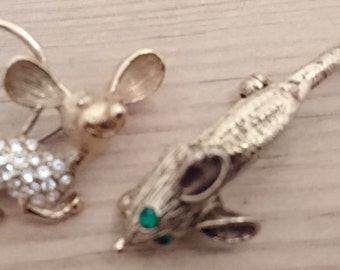 Two vintage rhinestone Mice Brooches/pins
