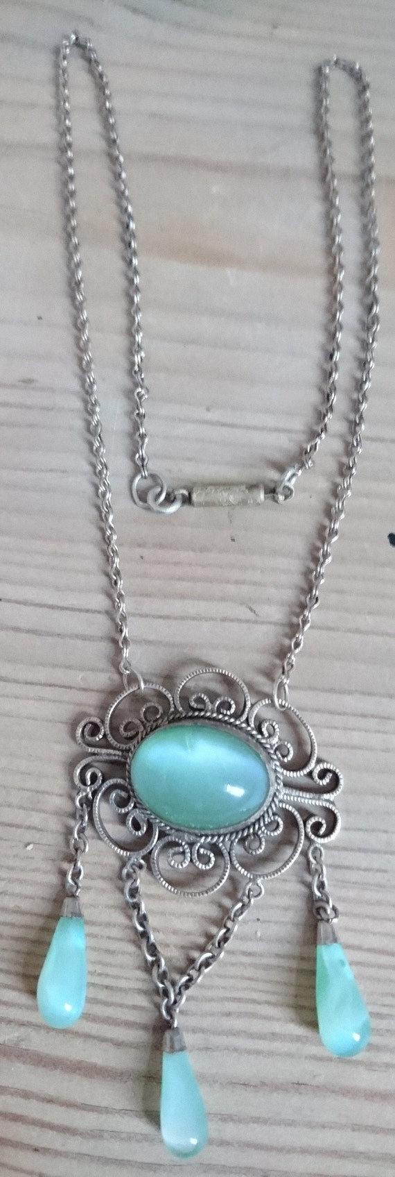 FREE SHIPPING Antique green glass drop necklace