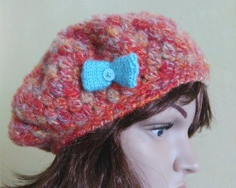 Crocheted woman's beret, squichy soft beret with blue bow. Chunky hat, for ladies, gift for her, slouchy woman's hat