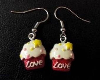 cupcake earrings love Red