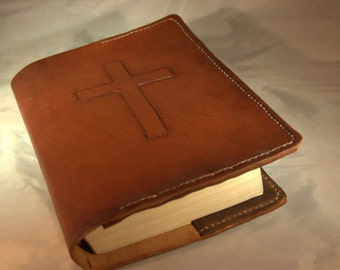 "Custom Handmade Leather Bible Cover ""Old Rugged Cross"""
