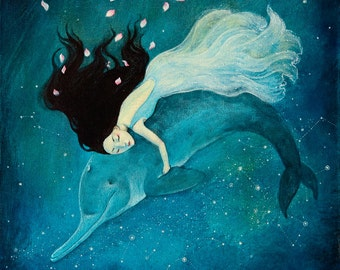 Limited edition giclée print of Lucy Campbell art 'Rebellious Daughter'. Lucy Campbell print, dolphin, rebellious daughter, river song.