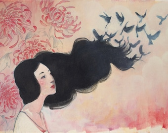 Fine art greeting card Japanese styled painting with birds and chrysanthemums