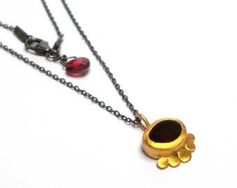 Garnet Pendant - Gold Pendant - 24 K Gold Pendant - Silver necklace - Free Shipping!!!