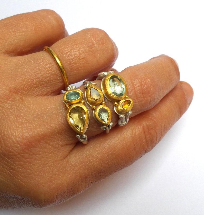 Citrine ring Statement gold ring Gold ring free shipping!!! Aquamarine ring 24k ring silver ring