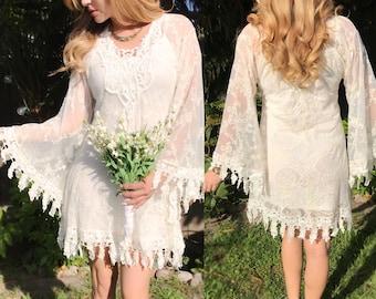 27e42d11298b Vintage Lace Short casual Beach Goddess Wedding Dress Angel Sleeve Country  Sheer Scalloped Gypsy Boho Ivory Crochet Country Bridal Dress