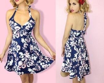 42e7fd43baf Navy Vintage Swing Rockabilly Floral Pinup Dress 50s jive Casual Demi Loon  Sun Halter Dress