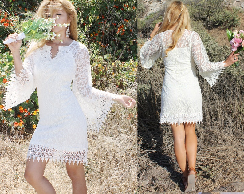 71bc1d457061 Short casual Beach Goddess Wedding Dress Angel Sleeve Country   Etsy