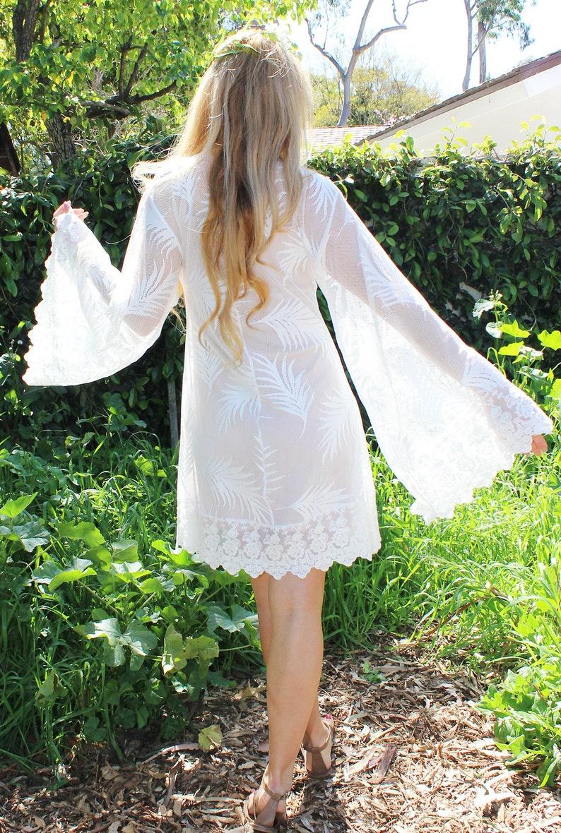 c6d66ff910bf Short casual Beach Wedding Dress Angel Sleeve Country Sheer   Etsy