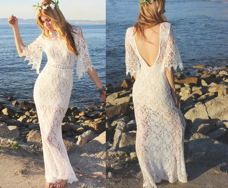 a56ef8fe003b Boho Crochet Vintage Sheer Lace Wedding Dress Bohemian Casual | Etsy