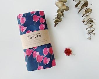 Tea Towel- tulip storm, hand painted and handmade cotton linen kitchen towel