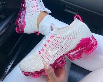 f7ca1aec8579 Nike Air VaporMax Flyknit 3 + Hand Customized Swarovski Crystals -  Phantom White Laser Fuchsia Pink Rise