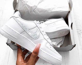 Nike Air Force 1  07 Low + Hand Customized Swarovski Crystals - White-  Woman Kids 3fef90441