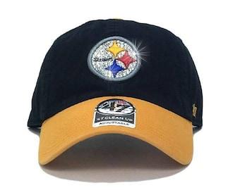 5e45bf43ae456 Pittsburg Steelers  47 Brand Adjustable Cap + Custom Swarovski Crystals