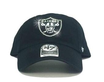 reputable site c9f35 6483f Oakland Raiders  47 Brand Adjustable Cap + Custom Swarovski Crystals