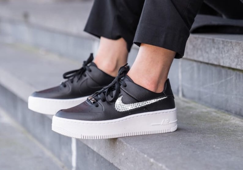 quality design c0b9d 2e676 Nike Air Force 1 Sage Low + Hand Customized Swarovski Crystals - Black