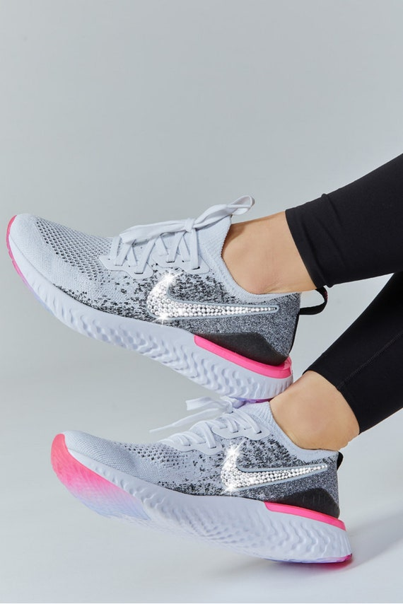 Swarovski Nike Epic React Flyknit 2 Women's Running Shoes Customized with Swarovski Crystals Bling Nike Shoes