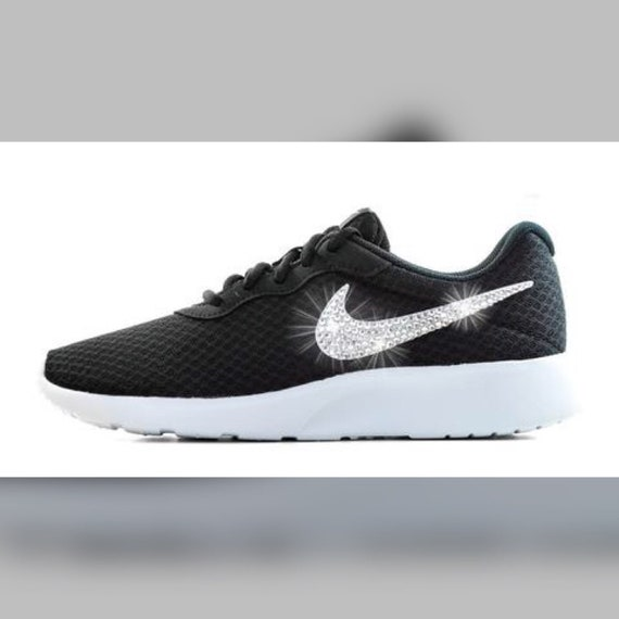 Nike Tanjun Crystallized Swarovski Swoosh Black White 2cb514460