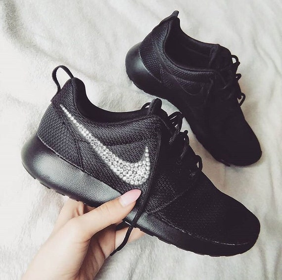 reputable site 2e4a6 fdf29 ... italy nike roshe one hand customized swarovski crystals black etsy  23a4d dc1ec