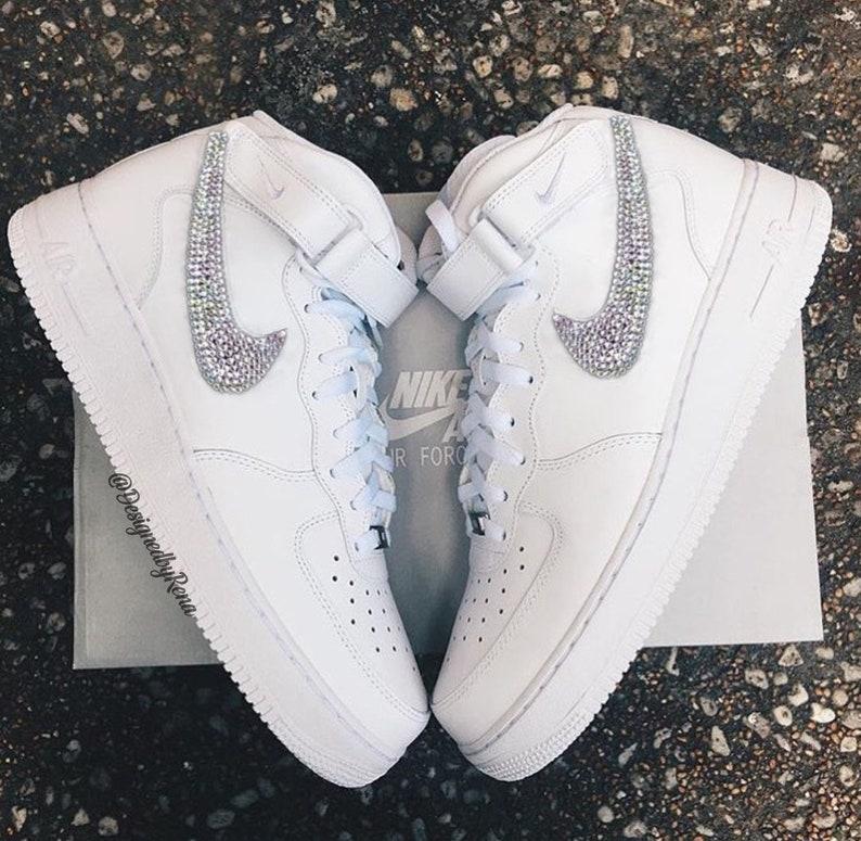 online store d838a 28eaf Nike Air Force 1 '07 High Tops + Hand Customized Swarovski Crystals -  White- Woman/Girls