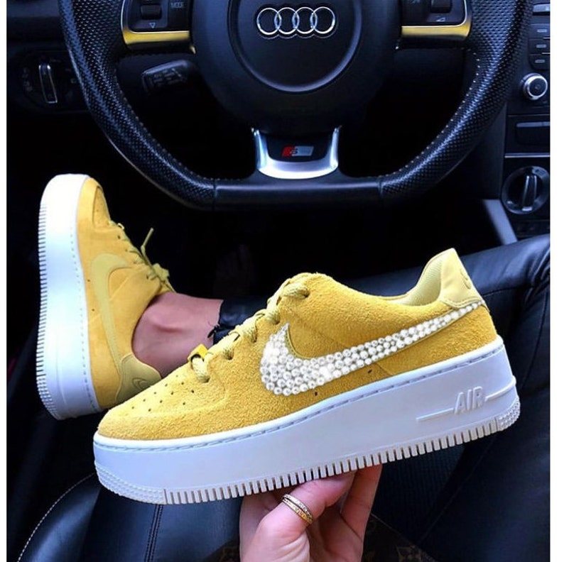 Nike Air Force 1 Sage Low Hand Customized Swarovski Crystals  8115afd74