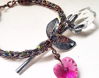 Sweetheart Viking Knit Chain Bracelet Pink Swarovski Heart Dangle
