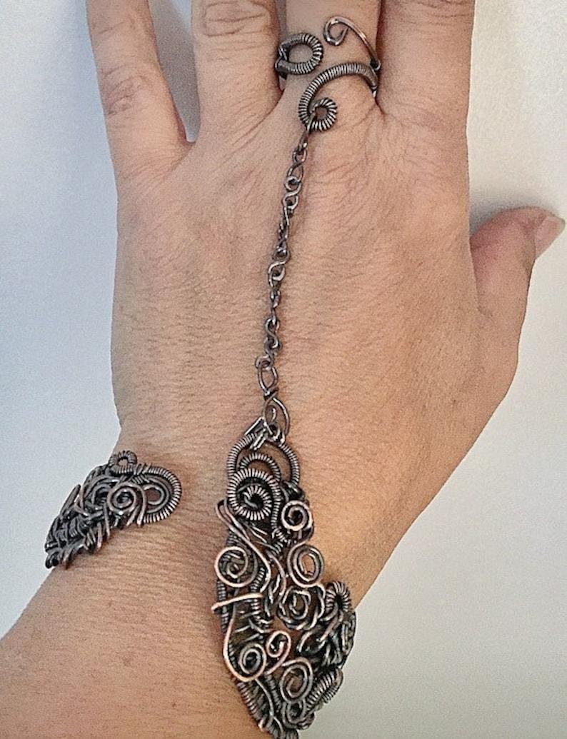 Adagio Bracelet Ring Combo w Removable Ring Copper Wirewrap Bohemian