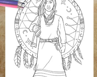 Indian Coloring Page Etsy